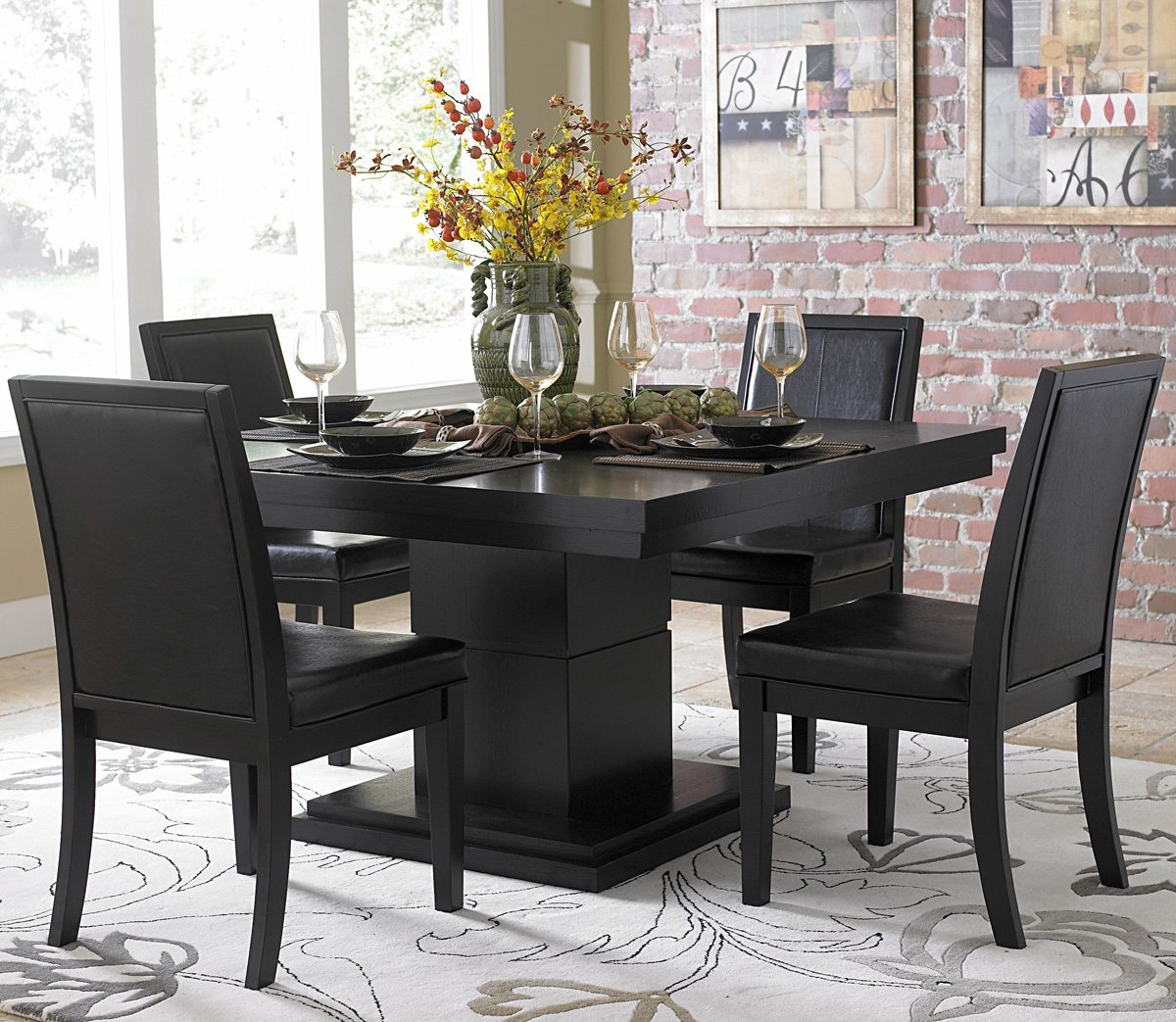 Homelegance Cicero Square Pedestal Dining Table in Black - Walmart