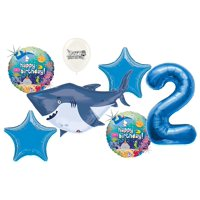 2nd Birthday Ocean Buddies Great White Shark Summer Party Decoration Balloon Bouquet Set