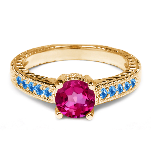 Pink Mystic Topaz Swiss Blue Simulated Topaz 925 Yellow Gold Plated Silver Ring