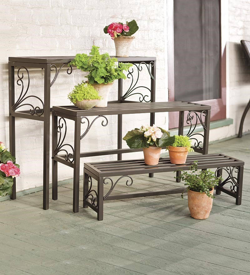Plant Stands Set of 3 Nesting Plant Stands w  Scrollwork by Plow & Hearth®