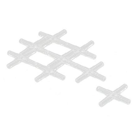 Fish Tank Aquarium Plastic Cross-shaped Air Line Connector Clear 8 Pcs