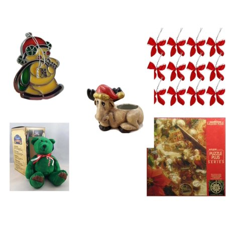 Christmas Fun Gift Bundle [5 Piece] - Russ Berrie Stained Glass Snowman Santa Ornament - Set of 12 Red Velvet White Trim Wire Bows - Creation House Co., LTD Sad  Moose Planter - Limited Treasures