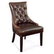 Bassett Fortnum Tufted Nailhead Parsons Chair in Leather - (Brown Leather)
