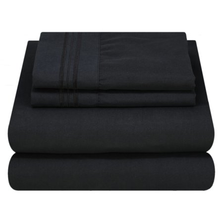 Mezzati Luxury 1800 Prestige Soft and Comfortable Collection Bed Sheets Set Twin Black (Gold Black Bed Sheets)