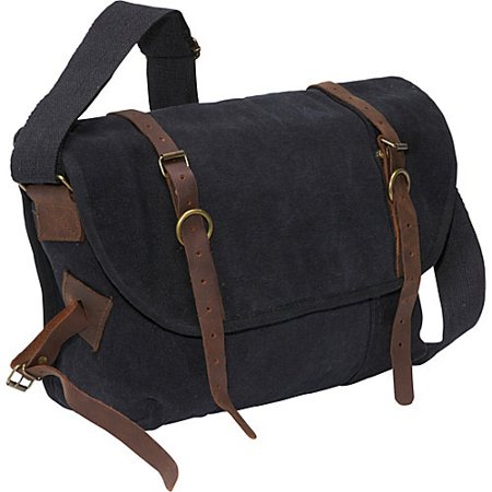 Black - Vintage Canvas Explorer Shoulder Bag with Leather (Canvas Purse)