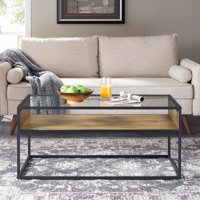 Mainstays Atmore Industrial Glass and Wood Coffee Table
