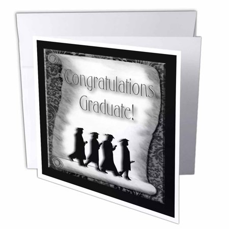 3dRose Congratulations Graduate Black and White, Greeting Cards, 6 x 6 inches, set of 12