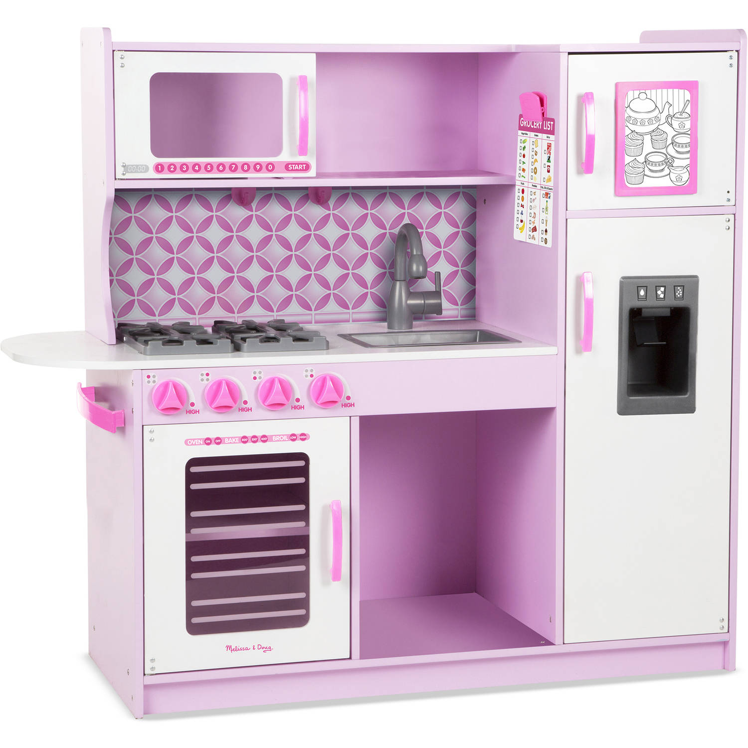 Melissa Doug Wooden Chef S Pretend Play Toy Kitchen With Ice Cube Dispenser Cupcake Pink White