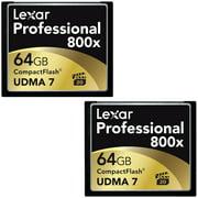 Lexar 64GB Professional 800x Compact Flash Memory Card (LCF64GCTBNA800) in 2-Pack Bundle