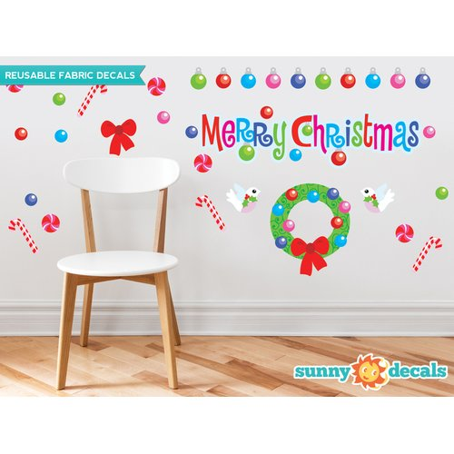 Sunny Decals Merry Christmas Fabric Wall Decal