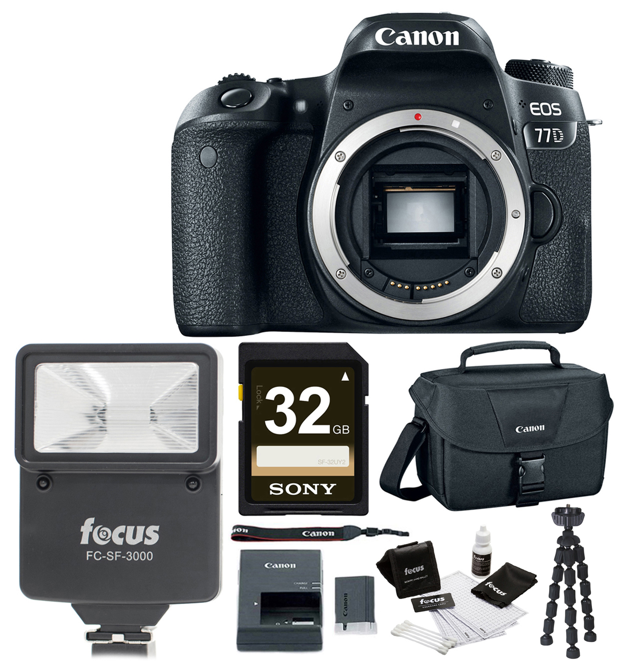 Canon EOS 77D (Body) with Canon DSLR Bag, Flash, 32GB SDH...