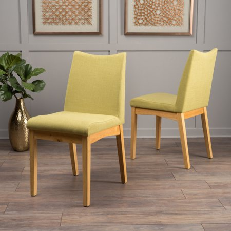 Noble House Roosevelt Green Tea Fabric with Oak Dining Chairs (Set of 2)
