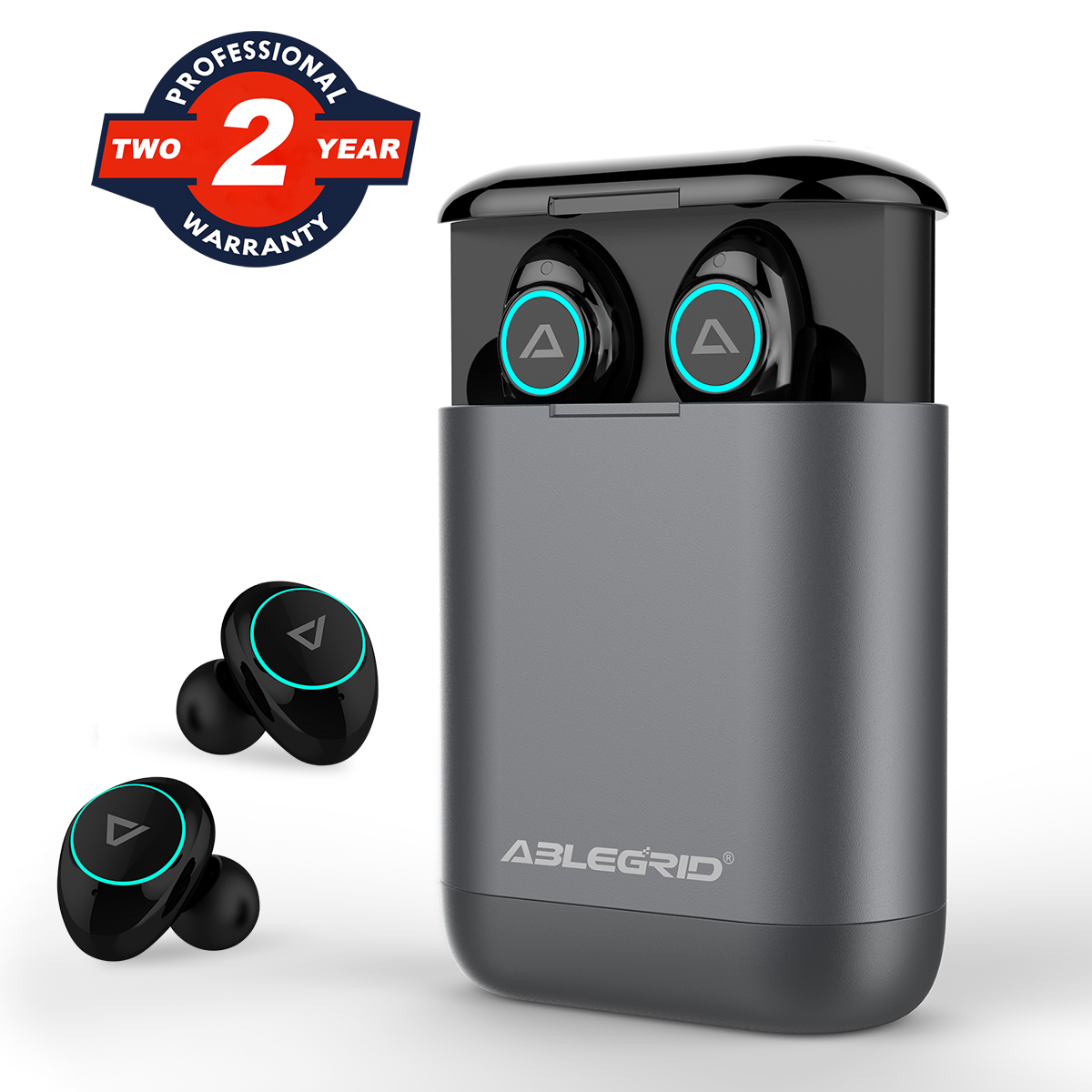 Wireless Earbuds, ABLEGRID Bluetooth 5.0 TWS True Wireless Headphones with 400mAh Charging Box Hi-Fi Noise Cancellation Bluetooth Headphones Sweat Proof Bluetooth Earbuds with Mic for Workout Driving