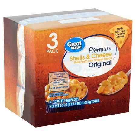 (2 Pack) Great Value Premium Original Shells & Cheese, 12 oz, 3 pack