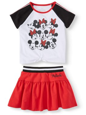 Minnie Mouse Short Sleeve Tie Front Top and Scooter Skirt, 2pc Outfit Set (Toddler Girls)