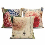 Vintage Flower/Vase Pillow Cushion Cover 18''x18'' Cotton Linen PillowCase Standard Decorative Back Waist Pillowslip Pillow Protector Cover Case for Sofa Couch Chair Car Seat