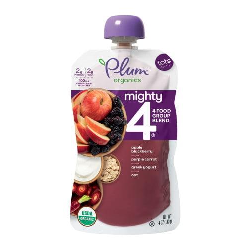 Plum Organics Mighty 4 Blends Apple, Blackberry, Purple Carrot, Greek  Yogurt & Oat, 4oz
