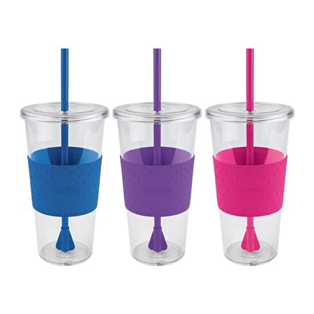 3 Pack Copco Sierra Tumbler With Spill Resistant Lid & Removable Straw - BPA Free Plastic 24 Oz - Hot Pink Purple Royal Blue ()