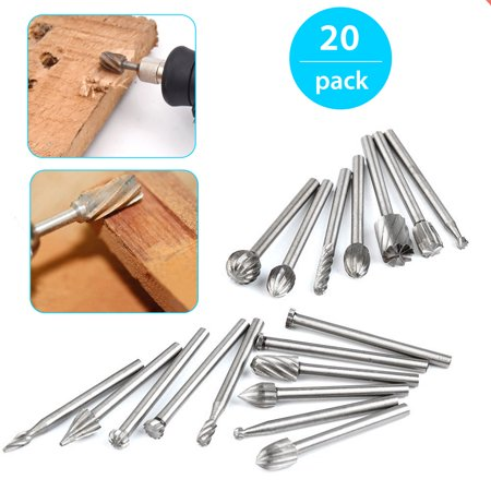 EEEKit 20-Pack Precision High Speed Steel Wood Cutter Tools Carbide Rotary Burr Sets Fits Dremel Tool for DIY Carving Engraving, Drilling Glass/Holes ()