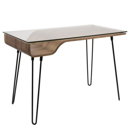 Avery mid century modern desk in walnut wood clear glass and black avery mid century modern desk in walnut wood clear glass and black metal gumiabroncs Image collections