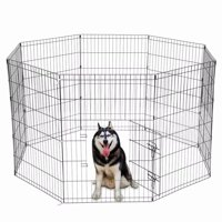 """36"""" Tall Wire Fence Pet Dog Cat Folding Exercise Yard 8 Panel Metal Play Pen Black"""