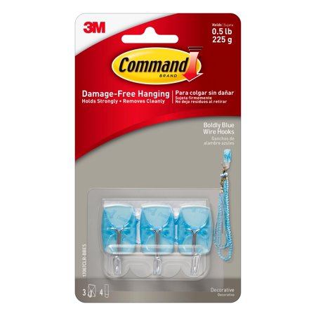 Command Boldly Blue Wire Hooks, Small, 3 Hooks, 4 Clear (Carolina Blue Hook)