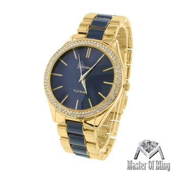 Dark Blue Dial Watch Womens MK Style Geneva Parker Gold Tone Acetate Analog