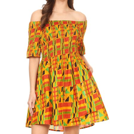 Sakkas Ife Wax African Ankara Colorful Cocktail Short Dress Off-shoulder w/pockets - 1066-Orange/black-tribal - One Size