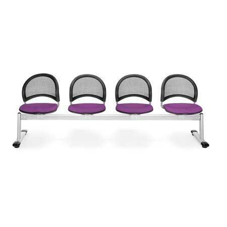 OFM Moon Series Model 334 4-Unit Beam Seating with 4 Fabric Seats, (Moon 4 Beam Seating)