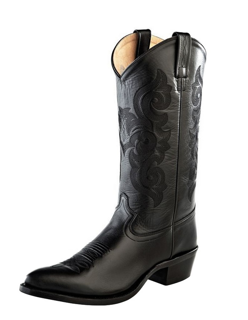 Old West Cowboy Boots Mens Pointed Toe Leather Pegged Black 5502