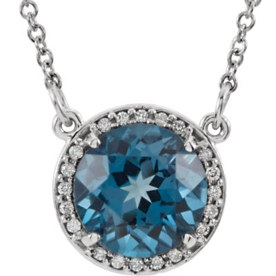 "14kt White London Blue Topaz & .05 CTW Diamond 16"""" Necklace 85905   14Kt White   London Blue Topaz   London... by Midwest Jewellery"