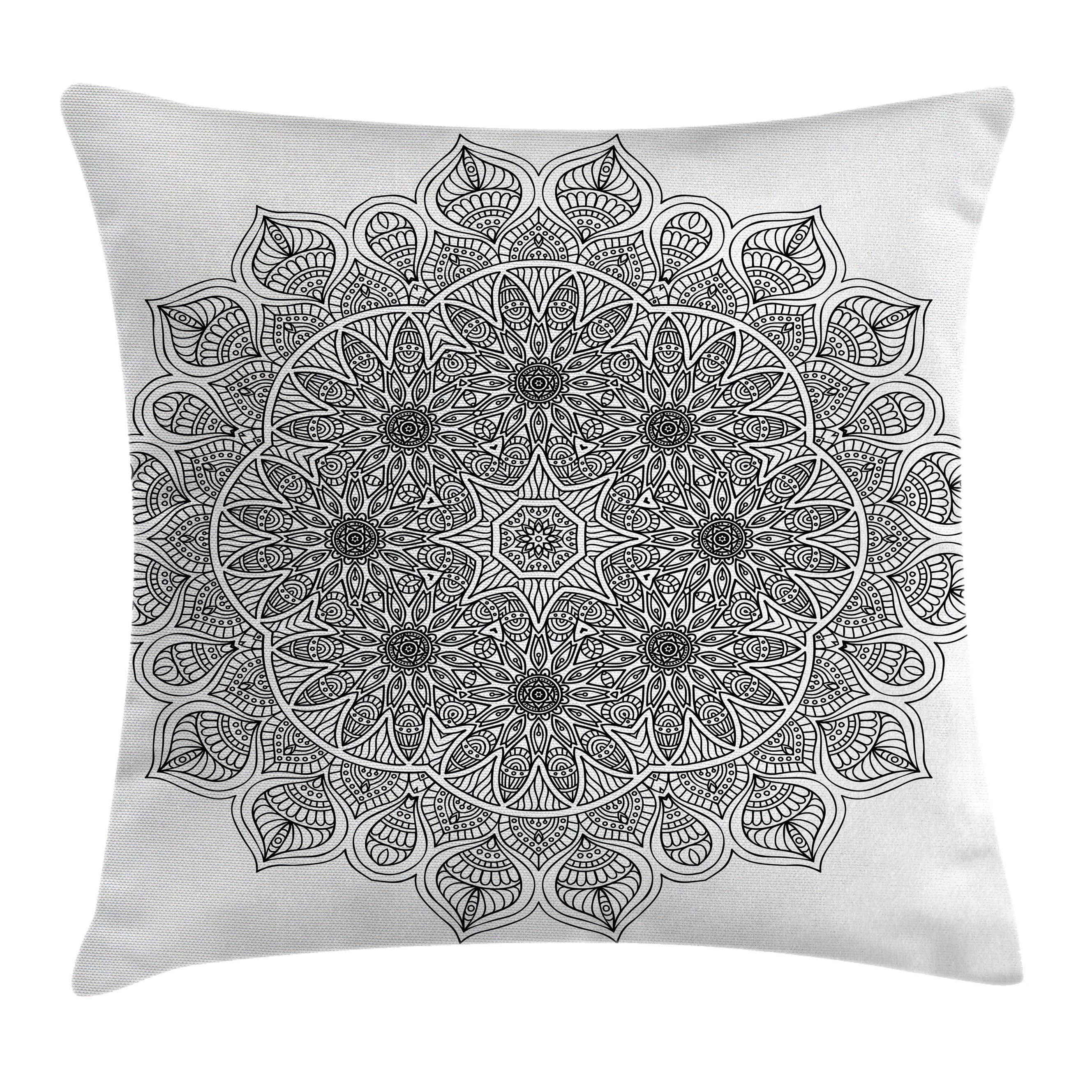 Mandala Decor Throw Pillow Cushion Cover, Monochrome Pattern Ancient Mystical Heritage Henna Cosmos Icon Artwork, Decorative Square Accent Pillow Case, 20 X 20 Inches, Black, by Ambesonne