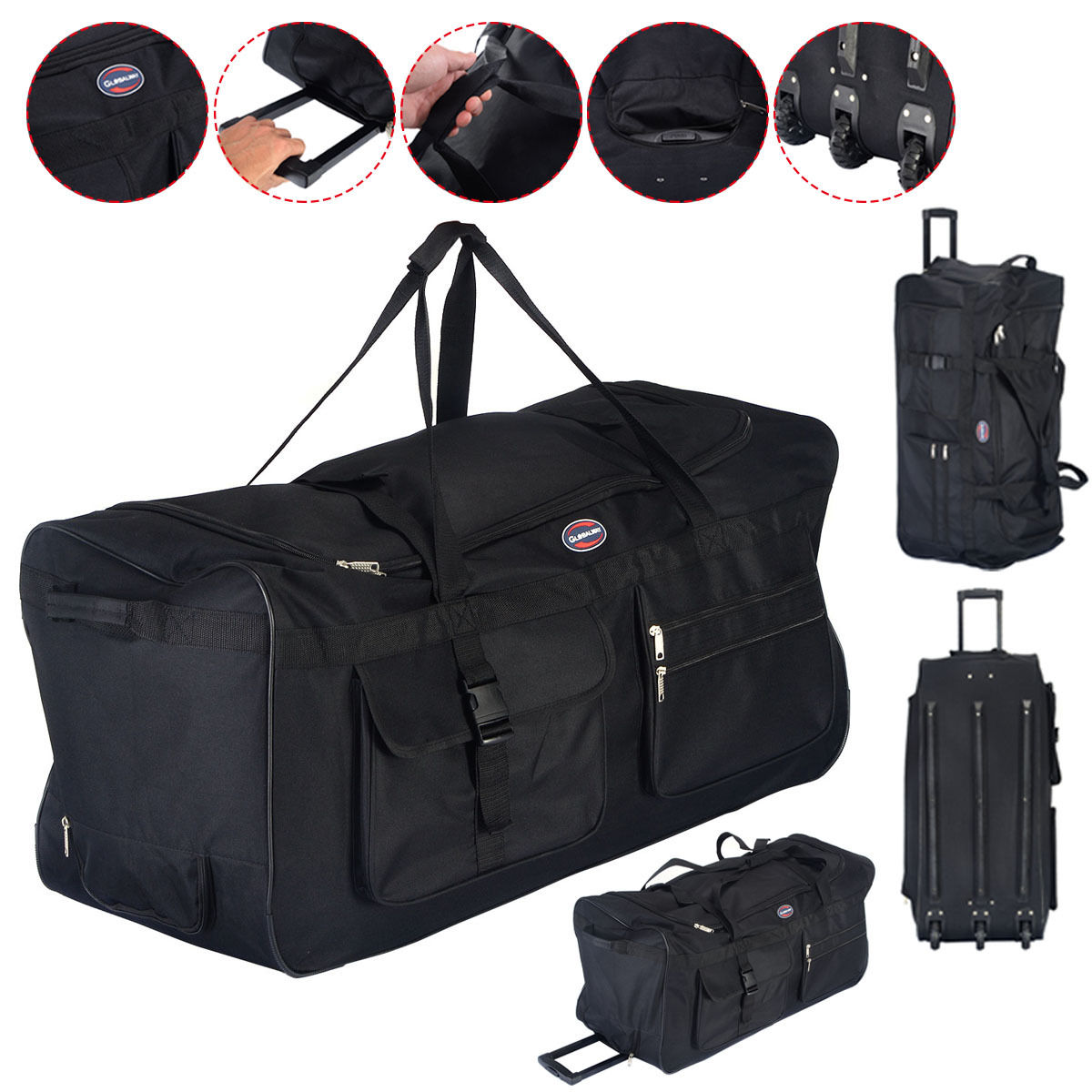 Costway 36'' Rolling Wheeled Tote Duffle Bag Luggage Travel Duffle Suitcase Black by Costway