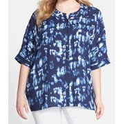 Sejour NORDSTROM NEW Navy Blue Womens Size 1X Plus Button Down Shirt