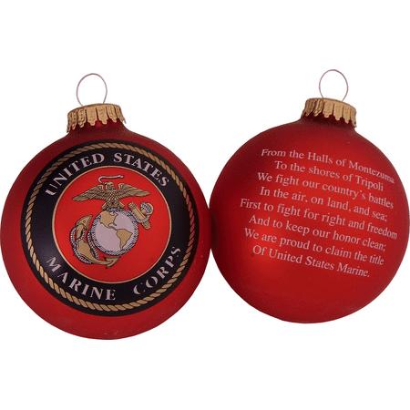 "Christmas by Krebs Seamless Marine Hymn and Logo Glass Christmas Ornament 3.25"""