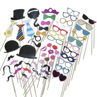 58 Piece Photo Booth Props DIY Kit Party Favor Dress Up Accessories For Parties,Weddings, Reunions,Birthdays,Bridal Showers.Costumes With Hats,Lips,Mustache,Glasses,Bows and More.