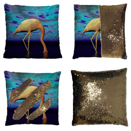 YKCG White and Pink Flamingo with Head in River Mysterious Purple Landscape Reversible Mermaid Sequin Pillow Case Pillow Cover 16x16 - Pink Flamingo Items