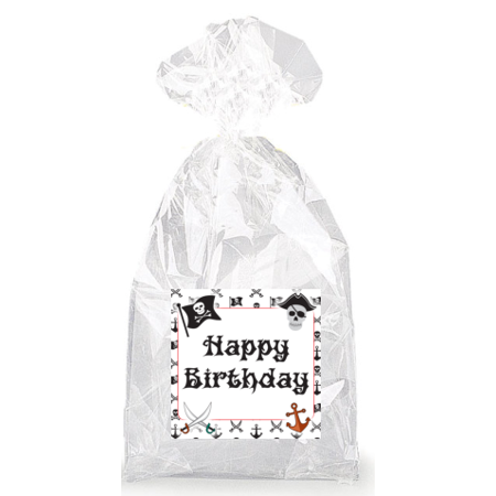 Happy Birthday Skulls (Pirate Skull Happy Birthday  Party Favor Bags with Ties -)