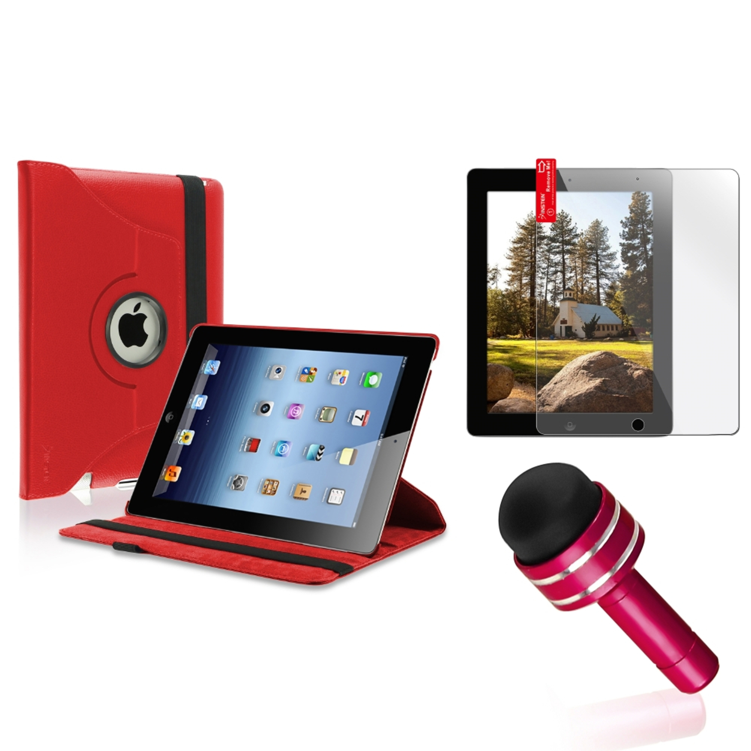 Insten Red For Apple iPad 4 4th 4G Gen 3 3rd 2 360 Rotating PU Leather Case Cover Stand