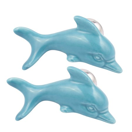 Dolphin Cabinet (Cabinet Wardrobe Drawer Door Pull Dolphin Shape Design Ceramic Knobs 2pcs )