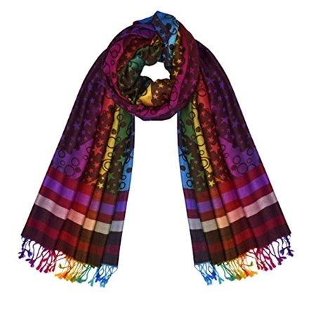 Peach Couture Rainbow Silky Tropical Colorful Exotic Pashmina Wrap Shawl Scarf (Star Chocolate)