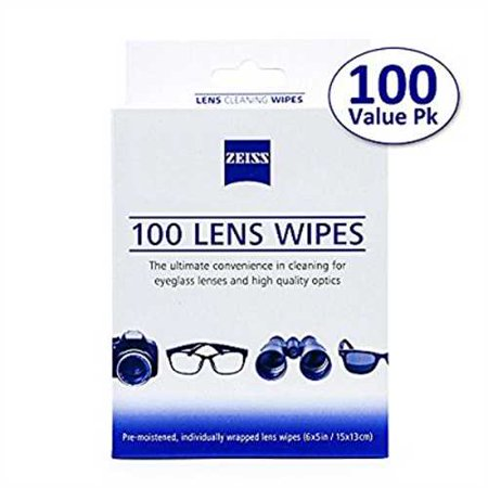 Zeiss Pre-Moistened Lens Cleaning Wipes - Cleans Bacteria, Germs and without Streaks for Eyeglasses and Sunglasses - (100 Count) (Carl Zeiss Lens Cleaner)