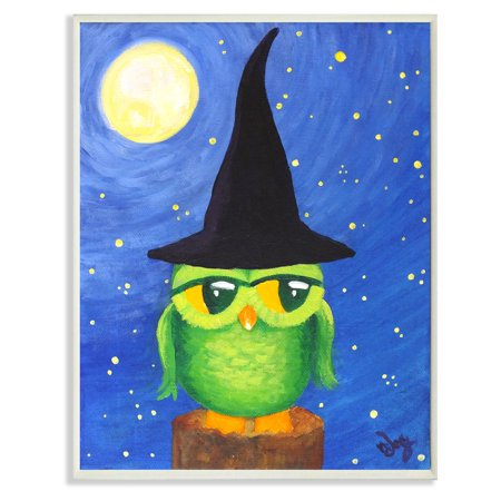 Stupell Decor Owl In A Wizards Hat Sitting On A Log Wall Plaque