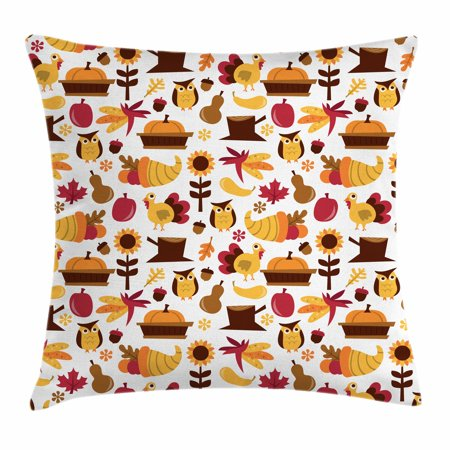 Harvest Throw Pillow Cushion Cover, Cute Cartoon Fall Composition Nuts Maple Leaves Owls Roosters Pumpkins, Decorative Square Accent Pillow Case, 18 X 18 Inches, Yellow Brown Red Orange, by Ambesonne - Owl Pumpkin