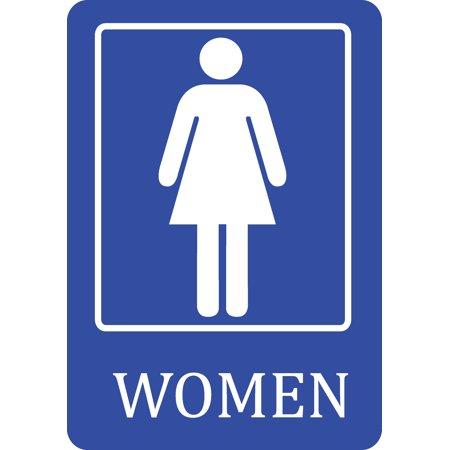 women bathroom blue sign large public restroom signs plastic