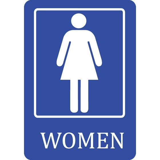 Womens Public Bathroom Toilet Video: Women Bathroom Blue Sign