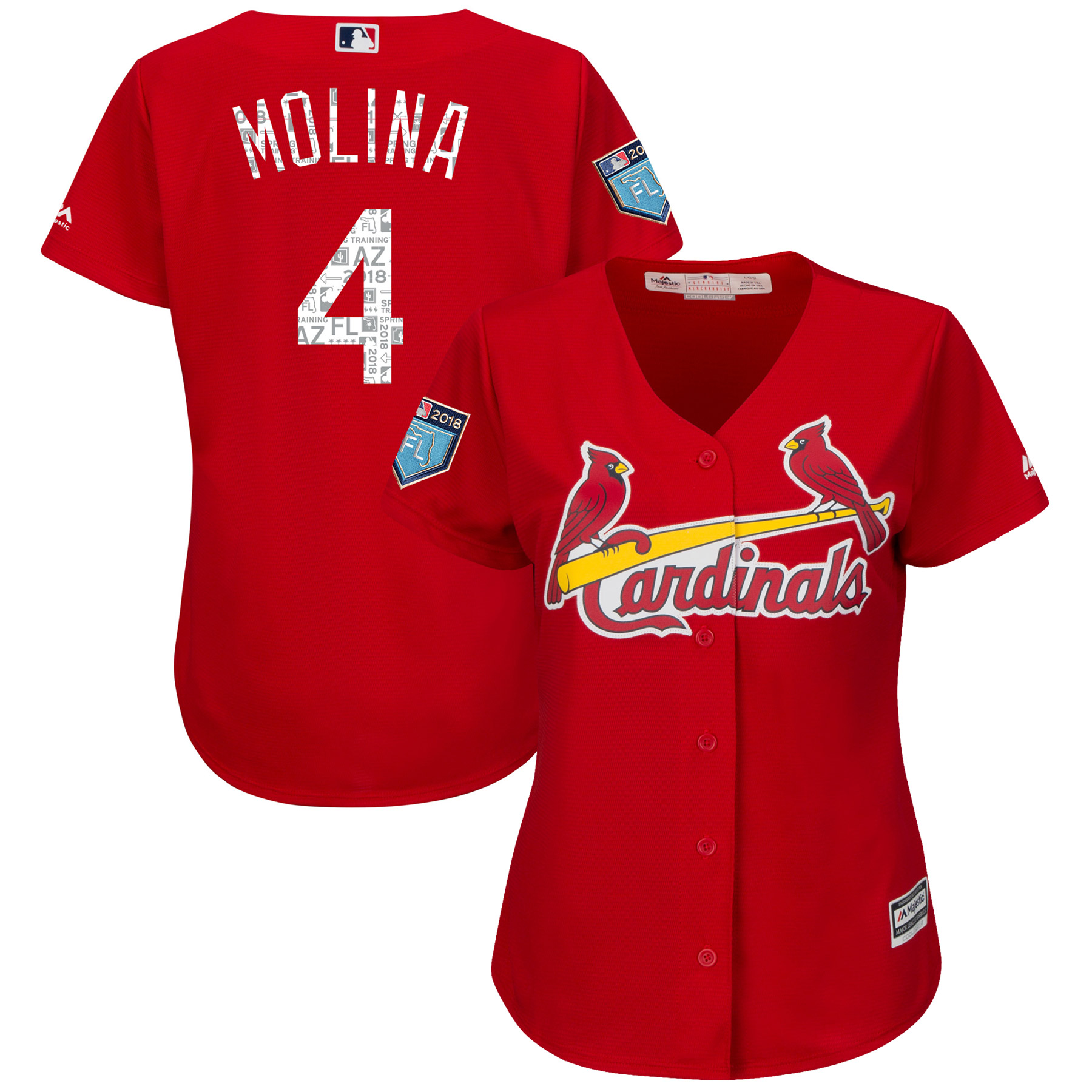 Yadier Molina St. Louis Cardinals Majestic Women's 2018 Spring Training Cool Base Player Jersey Scarlet by MAJESTIC LSG