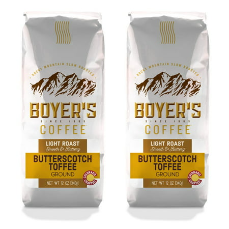 - Boyer's Coffee Butterscotch Toffee, Ground, Flavored Coffee, 2-Pack (1.5lb)