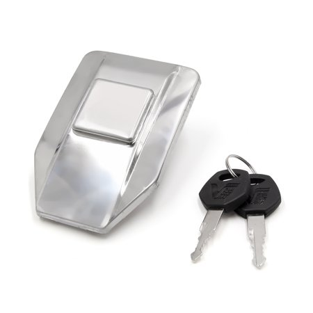Silver Tone Metal Motorcycle Oil Fuel Tank Gas Cap Lock Cover w 2 Keys for WY125 ()
