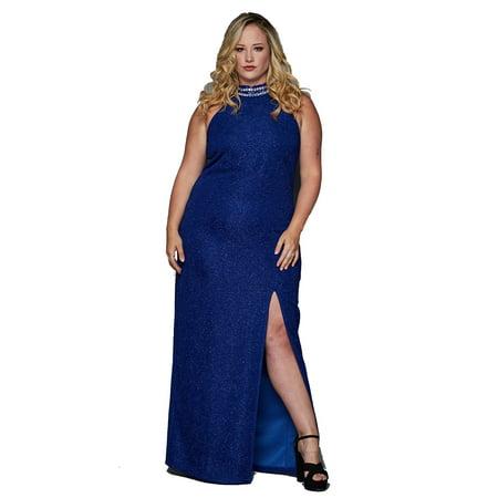 Teeze Me | Plus Size Jewel Neck Halter Glitter Slit Column Gown | - Column Jewel